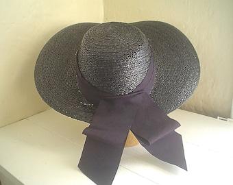 Vintage Black Straw Picture Hat 1930s to 1940s Navy Cartwheel Hat