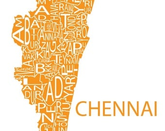 Typographic Map of Chennai, Tamil Nadu, India
