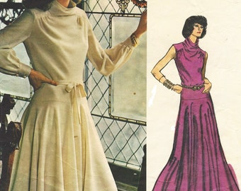 70s Belinda Bellville Womens Flared Dress Day or Evening Length Vogue Couturier Design Sewing Pattern 1102 Size 12 Bust 34