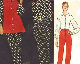 1970s Chuck Howard Womens Pointed Collar Blouse, Pants and Sleeveless Jacket Vogue Americana Sewing Pattern 2558 Size 10 Bust 32 1/2