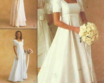 90s Alicyn Exclusives Womens Wedding Gown & Bridesmaid Dress McCalls Sewing Pattern 9135 Size 10 12 14 Bust 32 1/2 to 36 UnCut