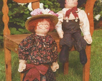 90s Simplicity Crafts Sewing Pattern 8209 Decorative Rag Dolls and Clothes 24 Inches by Sharon Simons UnCut Boy or Girl Dolls