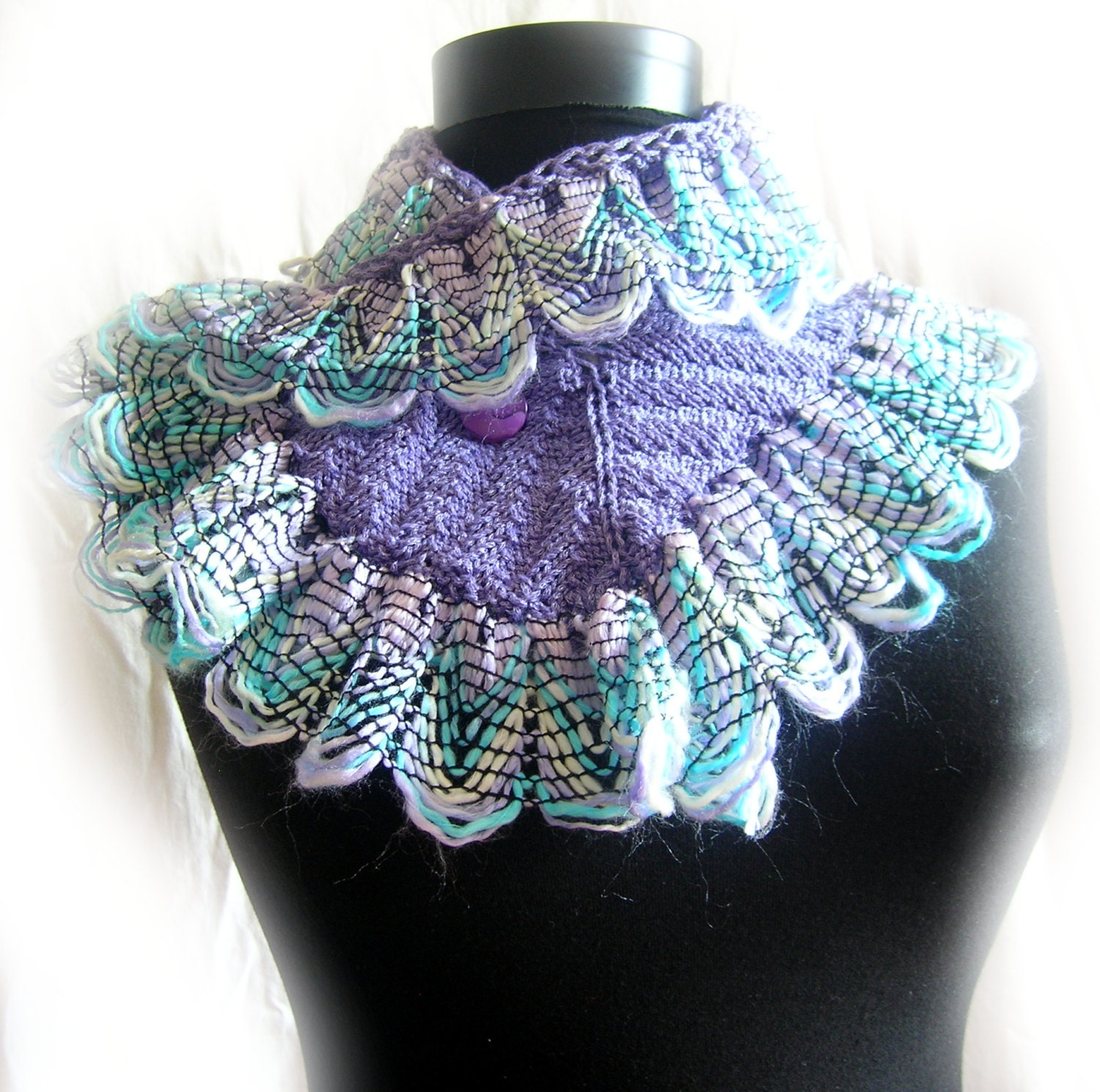 Hand knitted scarf. Curly Ruffle Spring Hyacinth