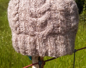 staghorn cabled wool hat made from handspun, handknit natural colored shetland sheep wool