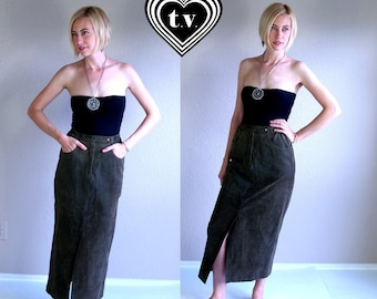 vtg 80s SAGE GREEN suede leather Midi SKIRT Medium high waisted soft boho indie preppy equestrian motorcycle high waist pencil