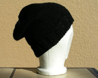 Slouch Hat, Tam, Beanie, Beret, Stocking Cap Black. A stocking cap that's a slouch hat!