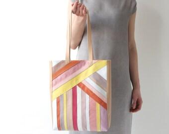 Striped Multicolor Leather Tote, apricot cotton lining, elegant leather purse, laptop bag, minimalistic striped shoulder bag