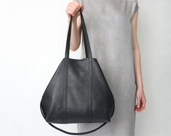 Leather Shopper, Big Multi-functional Leather Tote Black with Cotton Lining, Hobo Bag, Crossbody Bag, Big Shoulder Bag, Tote Bag