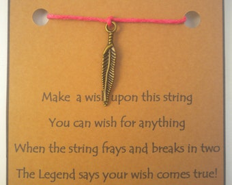 B/t FEATHER WISH STRING Bracelet Charm Band Cord Color Choice