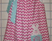Easter Pillowcase Dress, Easter Dress, Cute Easter Bunny Dress, Pink and White Chevron and Aqua and White Polka Dots  Monogram Size 2T to 14
