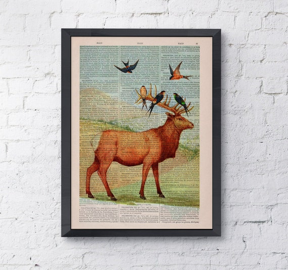 Summer Sale Deer with birds on Upcycled Book page Print Vintage Art Print Deer head with birds ANI044