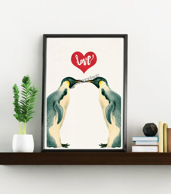 Love penguins art - White paper art print  - First Aniversary gift,  art print boyfriend gift, penguins collage WAN135