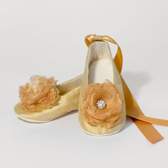 Gold Baby Shoe Silk Toddler Ballet Slipper Flower by BabySouls