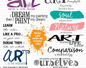 Artspirations 1 - Quotes for Artists - 10 Digital Stamps and Brushes - INSTANT DOWNLOAD - for Cards, Journaling, Scrapbooking, Collage