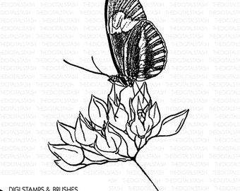 BUTTERFLY 6 - Digital Stamp and Brush - INSTANT DOWNLOAD - for Invites, Scrapbooking, Journaling, Collage, Cards, Crafts and More