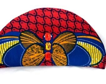 Butterfly heartbeat clutch purse in red  African print multi