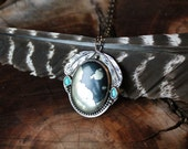 THUNDER CLOUD, feather necklace, sterling silver, Apache Gold, turquoise