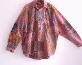 Holiday Sale Men's Patchwork Shirt Boho Cotton Shirt Eco Fashion