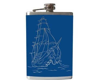 Sailing Ship Flask- alcohol, liquor, booze, wedding, bridal party, hip pocket- Personalized Custom - YOU pick COLOR