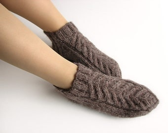 Hand Knitted Braided Cable Ankle Socks - 100% Natural Wool Yarn - Home Comfort
