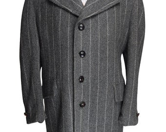 44R McGregor Belted Waist Chalk Striped Tweed Overcoat - Already Dry Cleaned