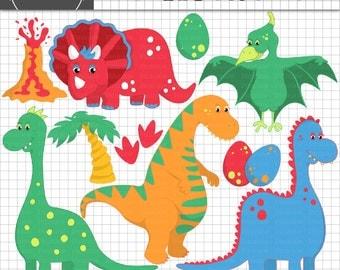 Dinosaur Clipart, Dino Clip Art, Kid's Clip Art, Instant Download, Commercial Use, Digital Images, Digital Graphics