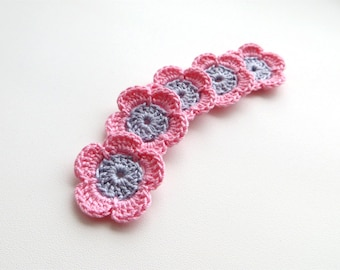 Crochet Flower Appliques, Multi Colored, Color Mix, Set of 5, Light Baby Pale Pink, Dreamy Grey