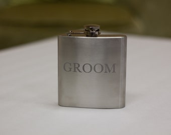 Etched Groom flask. 6 ounce hip flask stainless steel personalized flask. Custom hip flask for Groom. Wedding party gift, Groom gift idea