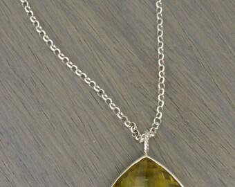 Quartz Pendant, 50ct marigold lemon quartz diamond cushion silver necklace - Token Pendant