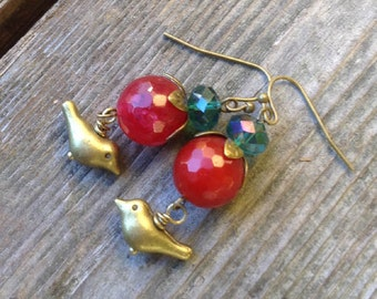 Two in the Hand -  Antiqued Brass Bird w/Raspberry Agate and Marine Blue Czech Glass Earrings