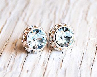 Icy Light Aquamarine Earrings Sugar Sparklers Small Swarovski Crystal Icy Light Aquamarine Diamond Rhinestone Stud Earrings Mashugana Bride