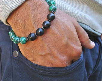 Men's Spiritual Healing and Negativity Protection, Good Fortune Bracelet with Semi Precious African Malachite, Onyx, Gunmetal and Bali Beads