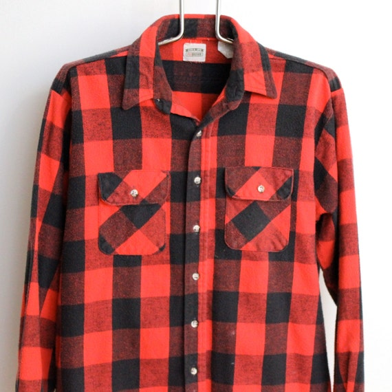 Red Buffalo Plaid Flannel Shirt Mens Extra Large Xl Unisex