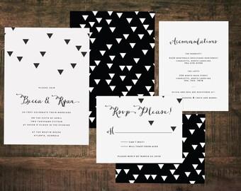 Black and White Wedding Invitation Suite (Set of 25) | Wedding Set, Invitation Set, Black, White, Modern Wedding