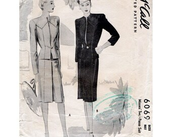 1940s Suit Pattern Jacket and Skirt Two Piece Suit McCall 6069 Vintage Sewing Pattern Bust 38 Plus Size