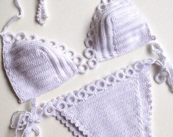 White Crochet Bikini Top Bikini Bottom Women Swimwear Swimsuit Summer Beach Wear Bathingsuit Festival Clothing Gifts For Her / senoaccessory