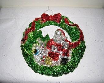 "3-D Vintage Christmas Wreath / Molded Shiny Plastic w/ Santa, Reindeer, Toy Drum, Gift & Ball / 11"" X 11 3/8"""