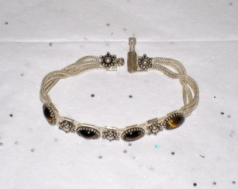 "Sterling Tiger Eye Bracelet / Boho Style 4 Strand, 7"" Long With Unusual Closure / FREE US Shipping"