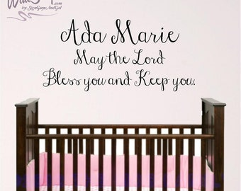 Nursery Bible Verse Wall Art, Lord Bless and Keep You, Personalized Name Baby Room Wall Decal