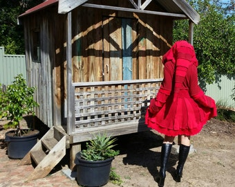 RED recycled elf coat....earth friendly,patchwork,pixie hood, upcycled rainbow sweater coat ...
