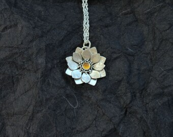 Silver Lotus Necklace - Water Lily Necklace - Sterling Silver Flower Necklace - Citrine Necklace - Heart Chakra Necklace
