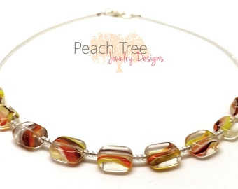 Beaded Glass Necklace, Beaded Necklace, Seed Bead Necklace, Brown, Yellow, Orange