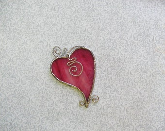 Pink Heart, Stained Glass, Suncatcher, Decorative, Christmas Heart, Holiday Gift, Art & Collectibles, Glass Art,Stocking Stuffer, Pink Gift