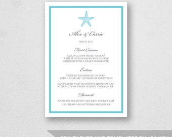 Wedding Menu Template Printable - INSTANT DOWNLOAD - For Word and Pages - Mac and PC - Starfish - 5 x 7 inches