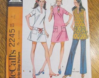 1960s UNIQUE Mod A Line Dress, Trousers & Scarf - CHOOSE Your Size - UNCUT Vintage Sewing Pattern McCalls 2245