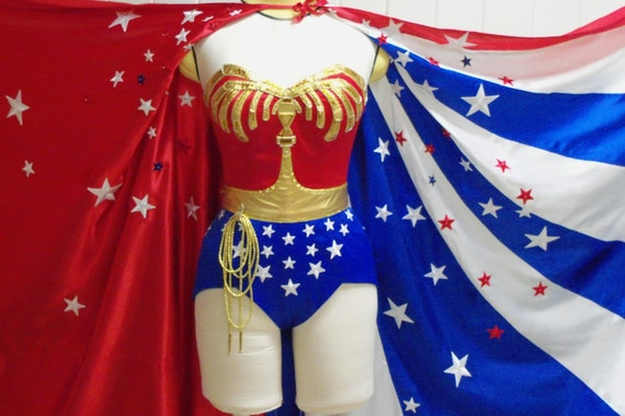 WS2 Wonder Suit Costume, Lynda Carter Replica womens bodysuit with embellished eagle, belt and stars for cosplay, display or halloween