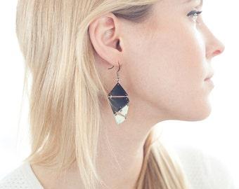 Black & White Patina Geometric Metal Earrings - SALE