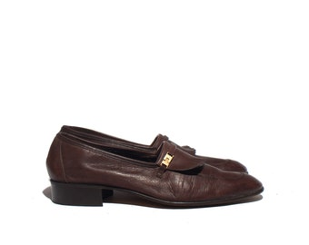 11 N | Men's BALLY of Switzerland Brown Fringe Loafers All Leather