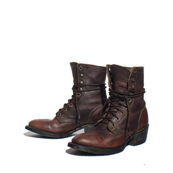 6 m s vintage lacer brown leather packer lace up by