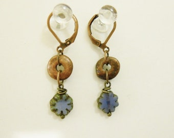 Earrings-Periwinkle Picasso Czech flower with copper round disc bead on Lever back ear wires